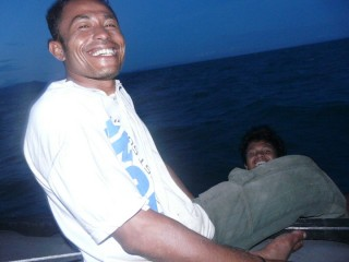 Friendly crew from the Indonesian island of Sulawesi. They're surprised I'm with them ...