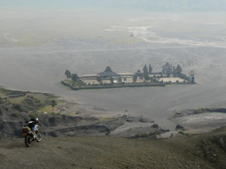 View of Pura Luhur Poten hindu temple from Mt. Bromo's crater.
