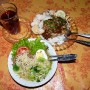 The usual : mee soup, local tahu pancake with rice, and tea