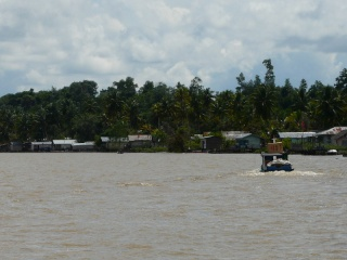 View of traditional wooden stilt houses as we approach Tanjung Selor