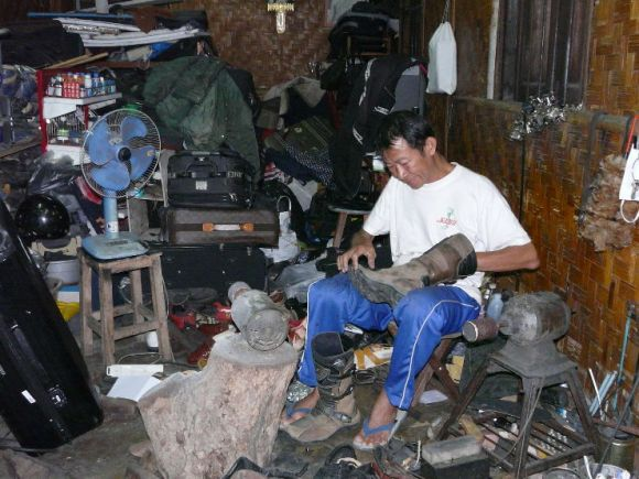 I'm told this is the best and most famous cobbler in the whole of ChiangMai. I was lucky he agreed to repair my boot as his shop (no sign above it) is closed most of the time. Thai Airways give him their business.