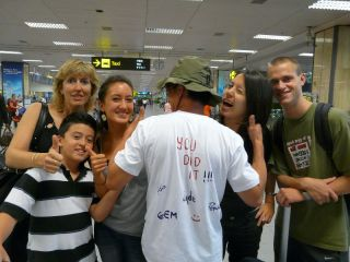 Family re-united at Changi Airport, Singapore