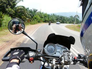Cockpit view of Solomon's bike ahead of us