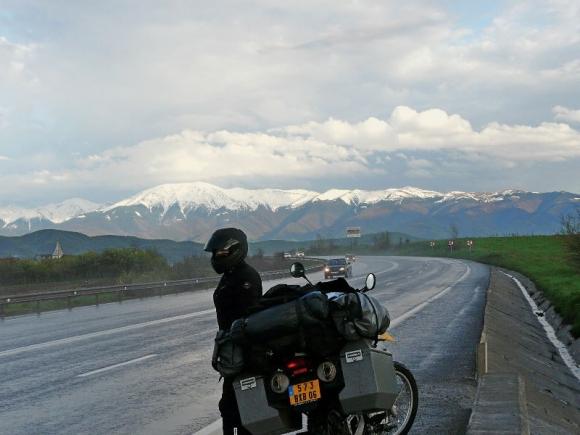 Wet day near Carpathian mountain range