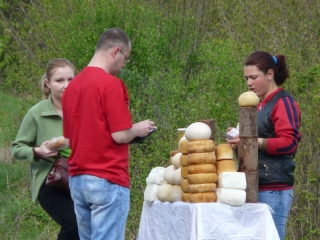 Cheese seller by roadside